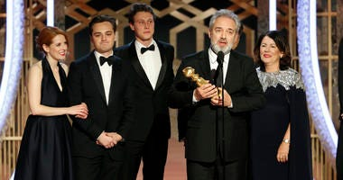 "This image released by NBC shows filmmaker Sam Mendes accepting the award for best motion picture drama for ""1917"" at the 77th Annual Golden Globe Awards at the Beverly Hilton Hotel in Beverly Hills, Calif., on Sunday, Jan. 5, 2020."