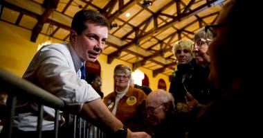 Democratic presidential candidate former South Bend, Ind., Mayor Pete Buttigieg greets members of the audience at a campaign stop at Iowa State University, Monday, Jan. 13, 2020, in Aimes, Iowa.