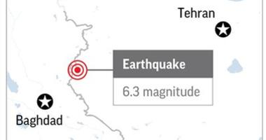 The U.S. Geological Survey says a magnitude 6.3 earthquake has struck western Iran near its border with Iraq.