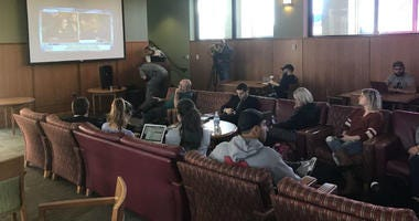 Faculty and students at Rutgers Law School in Camden gather to watch the Kavanaugh hearing.