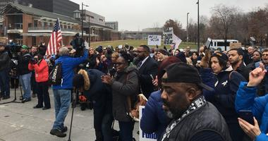 Hundreds of furloughed federal workers protested the partial government shutdown at a rally in Philadelphia.