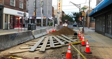 A chasm opened up on South Street between 5th and 6th streets, where a water main broke on Wednesday morning.