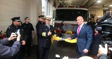 Fire Commissioner Adam Thiel at the reopening of an Old City firehouse.