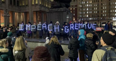 Protesters in Center City calling for the president's impeachment.