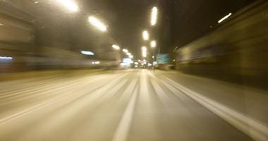 Point of view of a speeding driver.