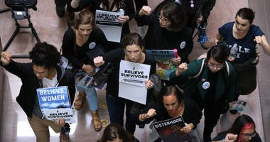Hundreds of protesters rally against the confirmation of Supreme Court nominee Judge Brett Kavanaugh on Sept. 24, 2018. They protested for a #BelieveSurvivors Walkout against Kavanaugh, who has been accused by at least two women of sexual assault.