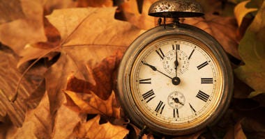 Alarm clock surrounded by leaves.