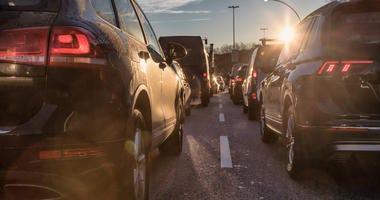 Cars stuck in traffic.