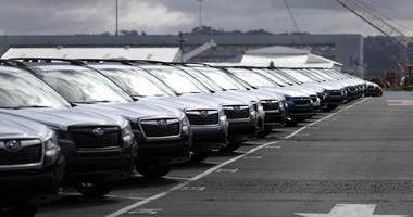 Brand new Subaru cars sit in a lot at Auto Warehousing Company near the Port of Richmond on May 17, 2019 in Richmond, California.