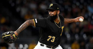 Felipe Vazquez #73 of the Pittsburgh Pirates delivers a pitch in the ninth inning during the game against the St. Louis Cardinals at PNC Park on September 6, 2019 in Pittsburgh, Pennsylvania.