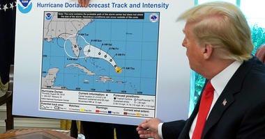 Trump displays Hurricane Dorian map