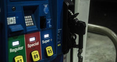 Gas station pumps with card reader.