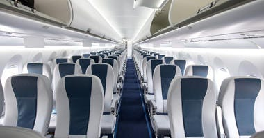Empty commercial airplane.