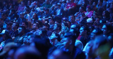 Guests look on as France and Sweden compete in the Overwatch World Cup semifinal match at BlizzCon 2017 at Anaheim Convention Center on November 3, 2017 in Anaheim, California.