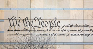 """We the People"" is engraved in the facade of the National Constitution Center in Philadelphia."