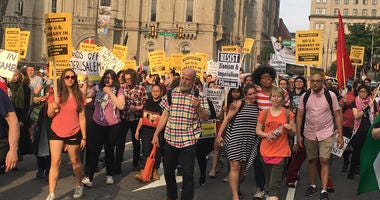 Demonstrators took to the streets of Philadelphia to show solidarity with the Palestinian March of Return protests that have been ongoing in Gaza.