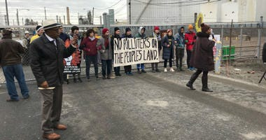 Protesters at PES refinery.