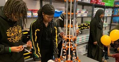 Students build a tower at the new STEAM Lab in North Philadelphia.