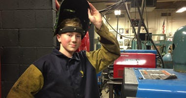 Cameron Holmstrom in Mr. Roskiewich's welding class