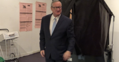 Mayor Jim Kenney votes at his Old City polling place on Nov 5, 2019.