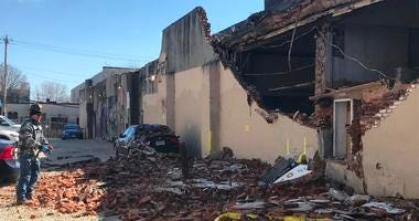 Officials say the wind is to blame for a partial building collapse at Fifth and Master streets in Kensington.