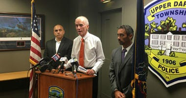 From left: Upper Darby School Superintendent Daniel Nerelli, Upper Darby Police Superintendent Michael Chitwood and Assistant School Superintendent Dan McGarry at a press conference.