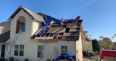 A house in the Cobblestones at Thornbury development in Glen Mills under repair following an EF2 hurricane on Thursday night.