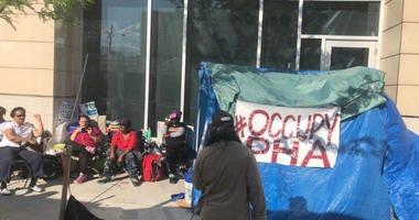 #OccupyPHA protestors at the Philadelphia Housing Authority headquarters.