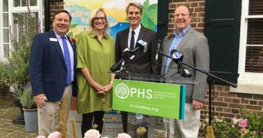 PHS chief of shows and events Sam Lemheney; 2020 Flower Show chair Helen Horstmann; John Kelly; PHS president Matt Rader