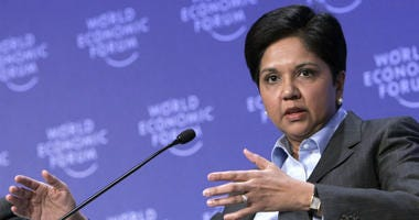In this Jan. 29, 2009, file photo, Chairman and CEO, PepsiCo Indra Nooyi speaks during a session at the World Economic Forum in Davos, Switzerland.