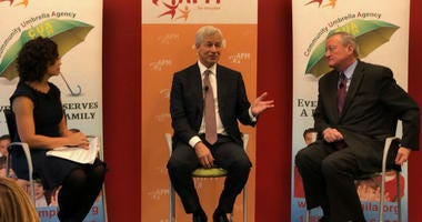 A moderator (left) leads a discussion with Jamie Dimon (middle) and Mayor Jim Kenney (right).