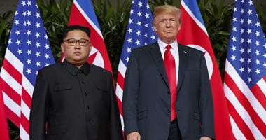 In this June. 12, 2018, file photo, U.S. President Donald Trump meets with North Korean leader Kim Jong Un on Sentosa Island, in Singapore.