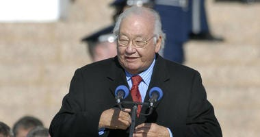 In this Monday, Jan. 8, 2007 photo, Pulitzer Prize-winning writer N. Scott Momaday recites a poem at the inauguration of Oklahoma Gov. Brad Henry at the State Capitol in Oklahoma City.