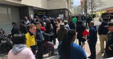Long line for the Philadelphia Parking Authority amnesty program