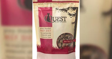 A Utah company is recalling two-pound frozen bags of Quest beef cat food sold nationwide over fears it may be contaminated with salmonella.