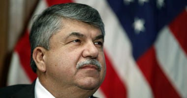 In this April 4, 2017 file photo, AFL-CIO president Richard Trumka listens at the National Press Club in Washington.