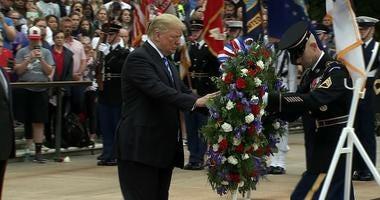 President Trump lays a wreath at Arlington National Cemetery.