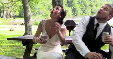 Newlyweds Escape Falling Tree Branch
