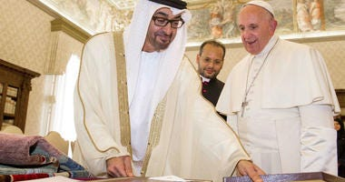 Pope Francis and Crown Prince of Abu Dhabi, Sheikh Mohammed bin Zayed al-Nahyan exchange gifts at the Vatican in September 2016.