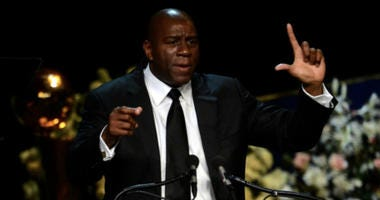 Magic Johnson, the beloved former point guard behind five world titles for the Los Angeles Lakers, announced Tuesday night he was quitting as the team's president of basketball operations.