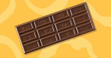 Hershey's is replacing its recognizable logo and etching 25 popular emojis into the rectangles that make up its milk chocolate bar.