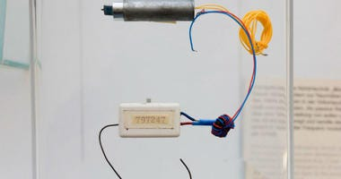 """A """"Bodil"""" passive eavesdropping transmitter on display at the Stasi Museum in Berlin."""