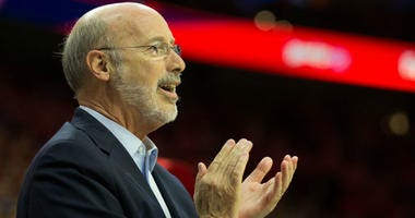 May 7, 2018; Philadelphia, PA, USA; Pennsylvania governor Tom Wolf cheers on during the third quarter in game four of the second round of the 2018 NBA Playoffs between the Philadelphia 76ers and the Boston Celtics at Wells Fargo Center.
