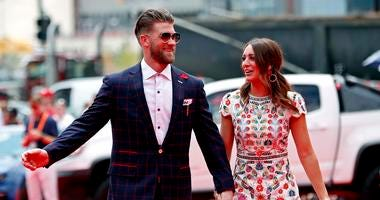 Bryce Harper with his wife Kayla Varner on the red carpet before the 2018 MLB home run derby at Nationals Ballpark.