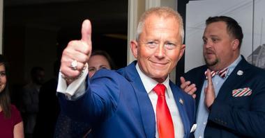 NJ Sen. Jeff Van Drew enters his election night headquarters following a victory Tuesday, Nov. 6, 2018 at The Claridge Hotel in Atlantic City, N.J.