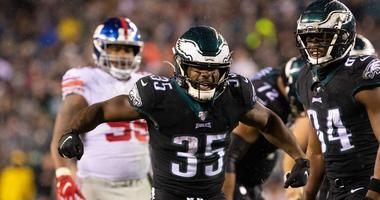 Philadelphia Eagles running back Boston Scott (35) reacts after his run for a first down during the third quarter against the New York Giants at Lincoln Financial Field.