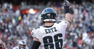 Philadelphia Eagles tight end Zach Ertz (86) celebrates after scoring a touchdown against the Washington Redskins in the fourth quarter at FedExField.