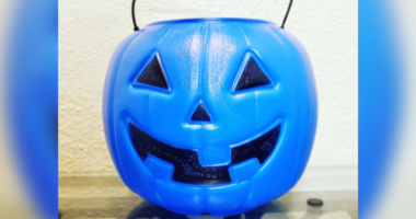 Blue pumpkin bucket