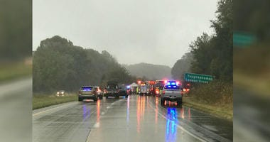 Scene of accident that left Three people are dead after a passenger van rolled off the highway in lower Chester County Wednesday afternoon.