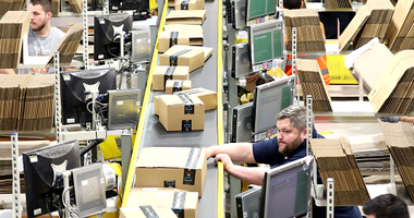 The on-site dispatch hall inside one of Britain's largest Amazon warehouses.